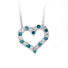 Blue Diamond Heart Pendant