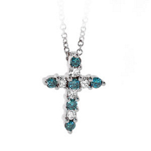 Blue Diamond Cross Pendant
