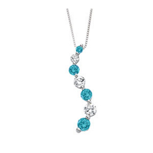 Blue Diamond Journey Pendant  1 Carat