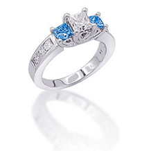 Princess Cut Three Stone Blue Diamond Ring