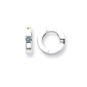 Blue Diamond Hoop Earrings in 14k White Gold