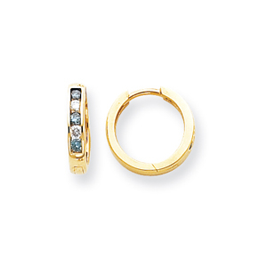 14k Yellow Gold Blue Diamond Hoop Earrings