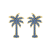 Gorgeous Blue Diamond Palm Tree Earrings
