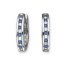 Blue Diamond Huggie Earrings 14k White Gold