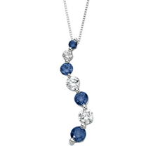 Lovely Blue Diamond Journey Pendant White Gold