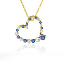 1/4 Carat Blue and White Diamond Heart Pendant