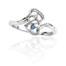 Two Heart .06 Carat Blue Diamond Ring