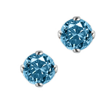 Breathtaking 1 Carat Blue Diamond Stud Earrings