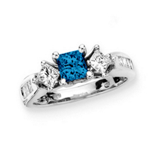 1.5 Carat Total Weight Blue Diamond Engagement Ring
