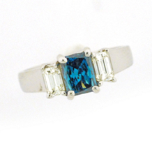 Three Stone Emerald Cut Blue Diamond Ring