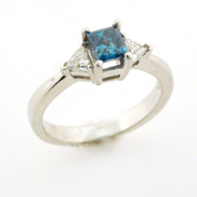 Gorgeous Blue and White Diamond Engagement Ring