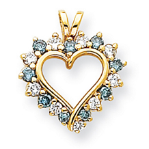 Gorgeous 7/8 Carat Blue Diamond Heart Pendant