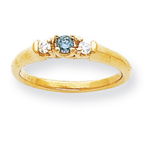 Elegant Blue Diamond Three Stone Ring Yellow Gold
