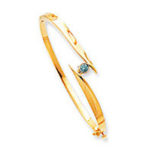 Lovely Blue Diamond Bangle in 14k Yellow Gold