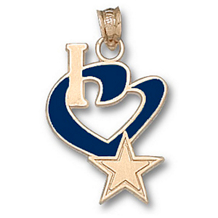 14k Yellow Gold I Heart Dallas Charm 1/2 inch Enamel