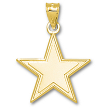 10k Yellow Gold Dallas Cowboys Star Charm 1 Inch