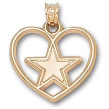 14k Yellow Gold Dallas Cowboys Star Heart Charm