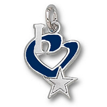 Sterling Silver Dallas Cowboys I Heart Star Logo Charm
