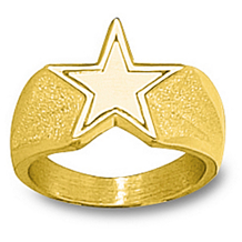 10k Yellow Gold Dallas Cowboys Mens Logo Ring
