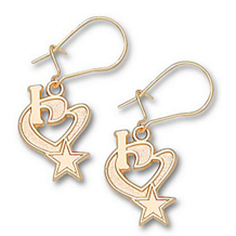 Gold Plated I Heart Star Cowboys Dangle Earrings