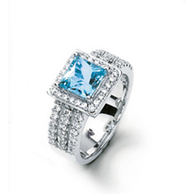 Square Cut Aquamarine Ring by Simon G