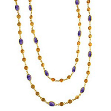 Carnival Long Chain Citrine and Amethyst Necklace