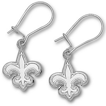 Sterling Silver New Orleans Saints Logo Earrings