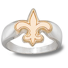 10k Two-tone Gold New Orleans Saints Logo Ring for Men