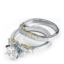 Platinum and Gold Bridal Set by Simon G