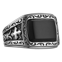 Scott Kay Unkaged Ring with Onyx Center
