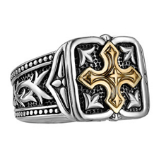 UnKaged Gold Cross and Sterling Silver Ring