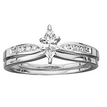 Beautiful Marquise Cut Diamond Bridal Set