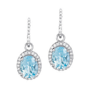 Oval Blue Topaz and Diamond Earrings