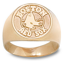 10k Yellow Gold Boston Red Sox Mens Ring