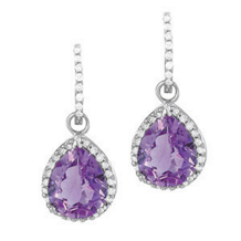 Beautiful Amethyst Tear Drop Earrings