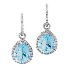 Blue Topaz Tear Drop Earrings
