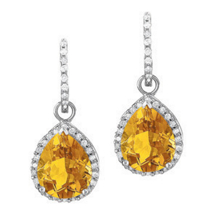 Exquisite Citrine Tear Drop Earrings