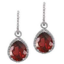 Lovely Red Garnet Tear Drop Earrings