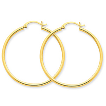 Stunning 14k Yellow Gold 2mm Endless Hoop Earrings