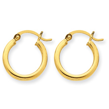 14k Yellow Gold Polished Round Hoop Earrings