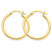 Round Hoop Earrings in 14k Yellow Gold