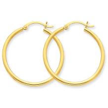 Dazzling Yellow Gold Round Hoop Earrings