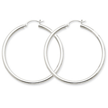 Lightweight Round Hoop White Gold Earrings