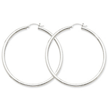 Elegant 14k White Gold Lightweight Hoop Earrings
