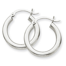 Classic 3mm White Gold Hoop Earrings