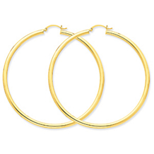 Beautiful 3mm Light Tube Gold Hoop Earrrings