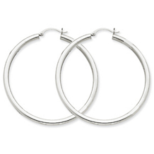 Exquisite 14k White Gold Round Hoop Earrings