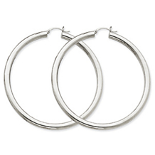 Dazzling White Gold Lightweight Hoop Earrings