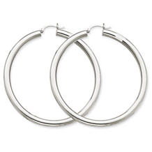 Beautiful White Gold Lightweight Round Hoops