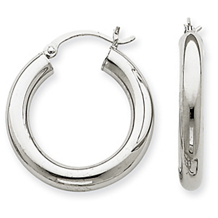 Classic White Gold 4mm Lightweight Hoop Earrings